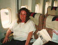 Maureen on a plane